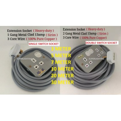 Heavy Duty Metal Clad Extension Trailing Socket Extension Wire 2 gang / 1 gang  3/5/7/10/20/30 meter cable